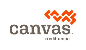 Canvas credit union with Orange texture and grey letters